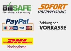 Bei uns zahlen Sie bequem auf Rechnung mit billsafe, paypal, sofortüberweisung und per Vorkasse.